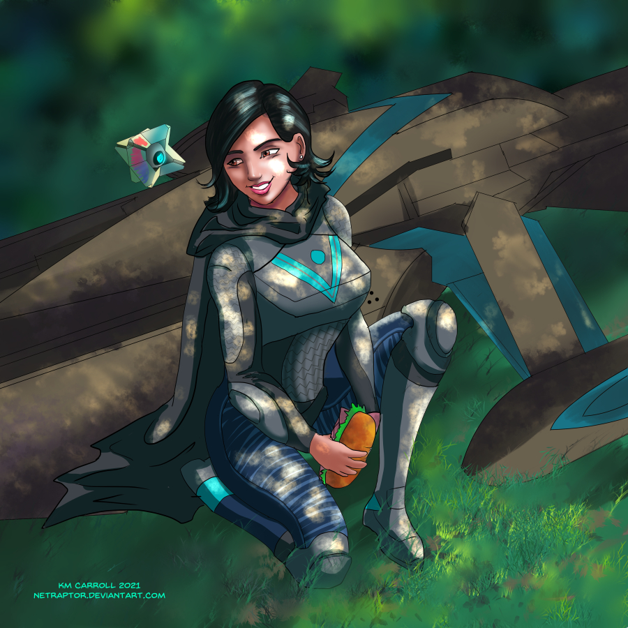 Cute girl in armor kneeling in grass